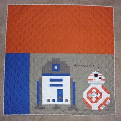 """""""The little Bb8 I made was lonely so I added R2D2 .... Can you spot the errors?  #quilt #quilts #patchwork #starwarsquilt #bb8 #r2d2"""""""