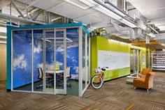 Pod offices-Idea for small meeting rooms. Glass dividers and cool wall paper