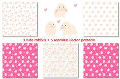 Rabbit vector set+ 5 patterns by Orangepencil on @creativemarket