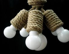 "Jute Hexa 35cm (~14"") pendant light made from sailing rope, hanging light, industrial light, loft light, marine style"