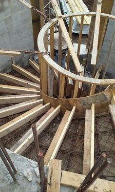 Useful Information About Staircase And Their Details - Engineering Discoveries Spiral Staircase Plan, Spiral Stairs Design, Concrete Staircase, Home Stairs Design, 3 Storey House Design, Bungalow House Design, House Front Design, Autocad, Round Stairs