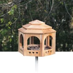"""This fly-through gazebo-style bird feeder has a simple yet attractive """"hatbox"""" design. Simple for people to build, easy for their feathered friends to love. Wood Bird Feeder, Bird Feeder Plans, Bird House Feeder, Bird Feeders, Squirrel Feeder, Bird House Plans, Bird House Kits, Bird Houses Diy, Building Bird Houses"""
