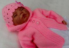 Baby coat and hat reborn  handknit machine washable by JaminaRose, $32.50