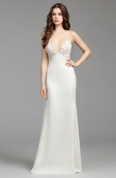 Illusion Sheath Wedding Dress  with Natural Waist in Lace. Bridal Gown Style Number:33448036