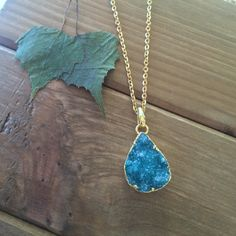 Ocean Teal Raindrop Raw Druzy Necklace // 24k Gold by WishEleven