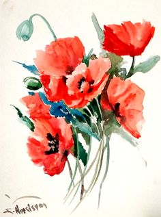 Field Poppies Original watercolor painting 12 X 9 by ORIGINALONLY, $28.00