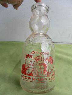 """Bottle has great cream top! """"It's good for grown ups too! Milk Jars, Old Milk Bottles, Kenosha Wisconsin, Milk Box, Cream Tops, Trivia, Juice, Water Bottle, Boxes"""