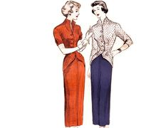 Vintage 50s Sewing Pattern - 2 Pc Dress, Jacket Blouse with TurnBack Cuffs at Hip & Sleeve, Slim Skirt - Butterick 4831, Bust 32, Uncut by FriskyScissors on Etsy https://www.etsy.com/uk/listing/153417249/vintage-50s-sewing-pattern-2-pc-dress