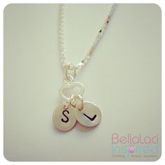 Sterling Silver initial tags hung from a Sterling Silver Tiny Heart Charm x Tiny Heart, Heart Charm, Hand Stamped Jewelry, Amber Jewelry, Washer Necklace, Initials, Charmed, Jewellery, Tags