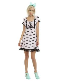 Hot Topic Disney Pastel Bow Print Babydoll Dress Size XS S L XL XXL NWT F8 acfbe86ae