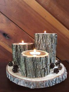 Log candle holder, Rustic candle holder, Wood tealight holder, Wooden candle holder, Rustic decor, R
