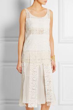 Nina Ricci Paneled lace and crepe dress NET-A-PORTER.COM