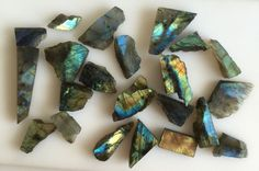 553CT NATURAL LABRADORITE ROUGH SLICE GEMS FLASHY LOOSE LOT RAW MINERAL SPECIMEN…