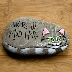 Hey, I found this really awesome Etsy listing at https://www.etsy.com/listing/230376273/cheshire-cat-hand-painted-rock-paper
