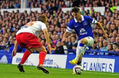 Everton's Bryan Oviedo in action against Stevenage