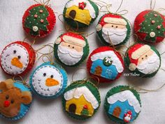Ideas to Make your Christmas Ornaments in Felt - Oscar Wallin Felt Christmas Decorations, Felt Christmas Ornaments, Handmade Christmas, Christmas Projects, Felt Crafts, Christmas Crafts, Christmas Makes, Christmas Fun, Creations