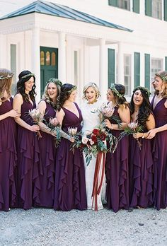 Find Out How These Classmates Went From Hola to I Do - Deep purple bridesmaid gowns: www. Purple Bridesmaid Gowns, Black Bridesmaid Dresses, Wedding Bridesmaids, Wedding Dresses, Autumn Bridesmaids, Bride Dresses, Fall Dresses, Glamour, Models
