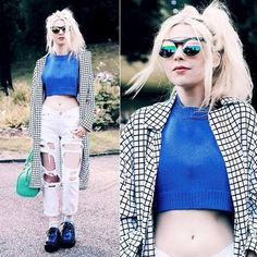 Fashion blogger and lover of quirk #KaylaHadlington styles her #Accessoryo Statement Iridescent #Sunglasses with on trend ripped denim and a grid overcoat, an edgy transeasonal look! #fbloggers Get 15% off! Use #discountcode: PIN15 at the accessoryo checkout!