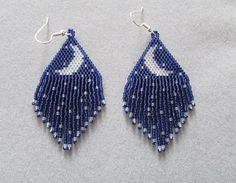 Crescent Moon with tiny Stars Earrings in Delica seed beads