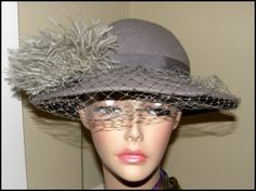 Gorgeous Vintage Hat Grey Wool with Feather Pouf by Nicholettes, $42.00