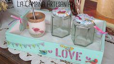 Conjunto matero ecofriendly...la bandeja es un cajoncito de dulce reciclado (cara 2) Ideas Para, Shabby Chic, How To Make, Diy, Wood Vase, Painted Boxes, Mason Jar Gifts, Crafts With Jars, Wooden Gifts