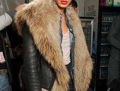 joan smalls in fur Fur Fashion, Fashion Outfits, Womens Fashion, Faux Fur Jacket, Fur Coat, Leather Jacket, Fabulous Furs, Joan Smalls, Mode Inspiration