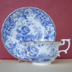 Spode Cup and Saucer Porcelain Blue White Fruit C1820!