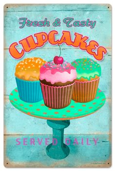 Retro Cupcake Fresh Tin Sign 16 x 24 Inches.     From the Retro Planet licensed collection, this Cupcake Fresh vintage metal sign measures 16 inches by 24 inches and weighs in at 4 lb(s). This vintage metal sign is hand made in the USA using heavy gauge american steel and a process known as sublimation, where the image is baked into a powder coating for a durable and long lasting finish. It then undergoes a vintaging process by hand to give it an aged look and feel. This vintage metal sign…