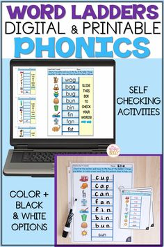 Help your Kindergarten, 1st, and 2nd grade students master phonics skills and spelling patterns with these engaging, interactive printable and digital word ladder activities! Word ladders are an engaging phonics activity to compliment your word study routines. Students will think critically to figure out the next word to build using the letter or picture clues. As they manipulate the phonemes, students will receive immediate feedback using these self-checking phonics activities. Word Work Games, Word Work Activities, Phonics Activities, Jolly Phonics, Teaching Phonics, Teaching Resources, First Grade Spelling, First Grade Words, Word Ladders