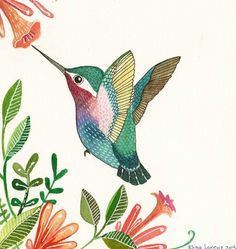 Reserved for Alisa / Humming Bird / Bird Art / Original Watercolor Painting / Floral / Flowers / Organic / Room Decor. $29.99, via Etsy.