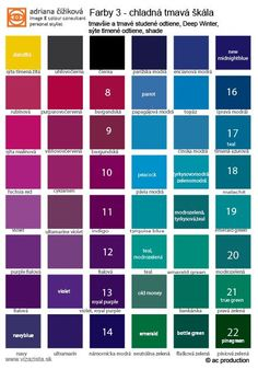 Deep Winter palette n.1 - the colours near the face, shades. Tops, shirts, pullis, dresses, scarves...