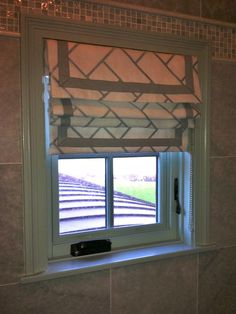 herringbone design roman shade w flip over top as valance and banded