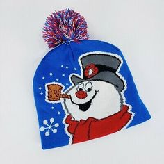 0ee6c697eb7 Frosty The Snowman Beanie Kids Winter Hat Youth Cap Graphic Pom New with  Tags