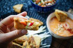 Indonesischer mit Gemüse gefüllter Tofu mit Sataysauce - vegan, glutenfrei, lowcarb Tofu, Healthy Lifestyle, Tacos, Low Carb, Ethnic Recipes, Finger Food Recipes, Vegane Rezepte, Gluten Free, Easy Meals
