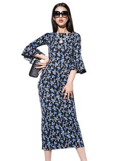 Bright O Neck Half Sleeve Long Floral Dresses