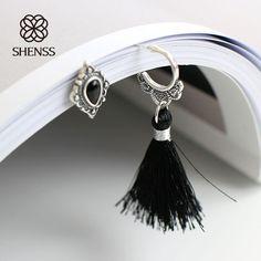 Earring For Women 925 Sterling Silver Earring Asymmetric Romanesque Tai Silver Tassel Nail Vintage Pattern SE0003 #Affiliate
