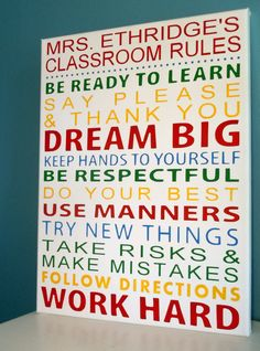 12x16 Custom Classroom Rules