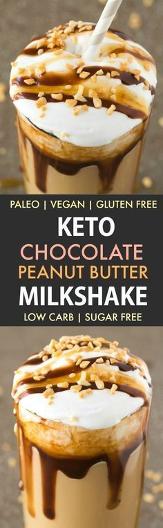 Keto Chocolate Peanut Butter Milkshake (Dairy Free Paleo Vegan Gluten Free)- Insanely thick and creamy chocolate peanut butter milkshake which tastes like snickers! It's low carb and sugar free too! {v gf p recipe}- Low Carb Drinks, Low Carb Desserts, Vegan Desserts, Low Carb Recipes, Diabetic Drinks, Dessert Recipes, Dinner Recipes, Peanut Recipes, Caramel Recipes