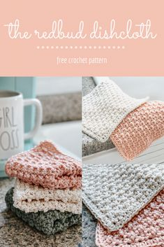 This free crochet pattern is quick, fun, and full of yummy texture! Grab your cotton yarn and come learn a new stitch and make a beautiful dishcloth too! Crochet Kitchen, Crochet Home, Crochet Gifts, Easy Crochet, Double Crochet, All Free Crochet, Single Crochet, Knit Dishcloth, Crochet Dishcloths Free Patterns