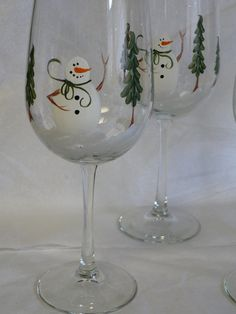 Hand Painted Wine Glasses with Snowman and by traditionsbylinda