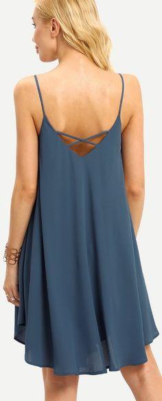 Blue Summer Spaghetti Strap Sundress Sleeveless Beach Slip Dress - Cute Dresses // http://www.cutedresses.co/product/summer-spaghetti-strap-sundress-sleeveless-beach-slip-dress/