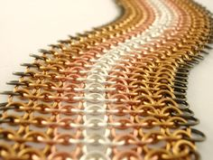 This handmade chainmaille bracelet cuff is just like a swatch of fabric! It is soft, lightweight and flexible! By Unkamengifts on Etsy!