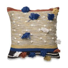 Dayo Cushion Cover w/Tassels Cushion Covers, Blue Brown, Tassels, Weaving, Reusable Tote Bags, Cushions, House Design, Throw Pillows, Inspiration