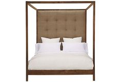 Strugess Tufted Linen Canopy Bed, Khaki