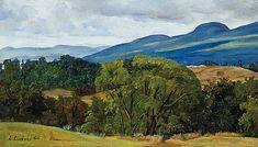 """""""Mountains in Vermont,"""" Luigi Lucioni, 1944, oil on Masonite, 5 x 8 3/4"""", private collection."""