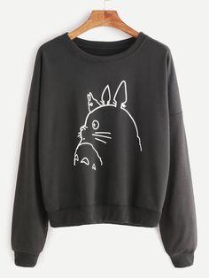 Black Drop Shoulder Cartoon Print Sweatshirt — 0.00 € -----------color: Black size: one-size