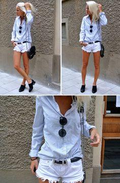Shorts - Zara belt - Lindex, Blouse - H & M, Shoes - choies, Sunglasses - Romwe