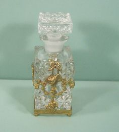 Vintage Glass Perfume Cologne Bottle W Brass Ormolu Holder Basket Flowers Bows | eBay