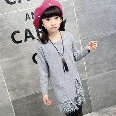 Купить товар2016 Модные Девушки Длинные Свитера Сплошной Цвет Кружева…