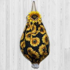 Sunflower decor  grocery bag holder  plastic bag dispenser